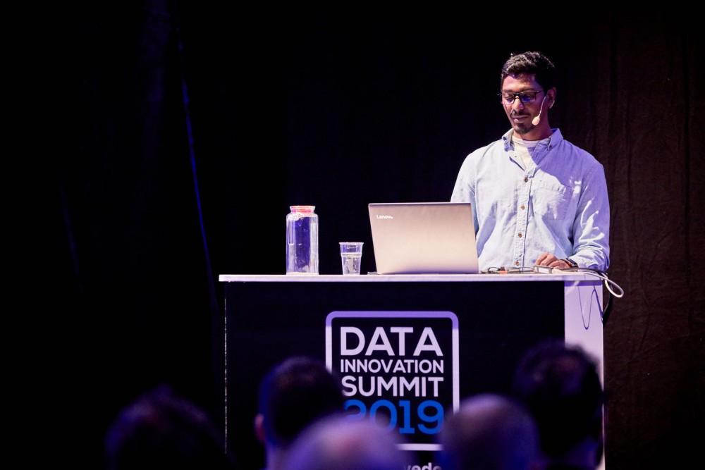 Nikhil Simha presenting at Data Innovation Summit 2019