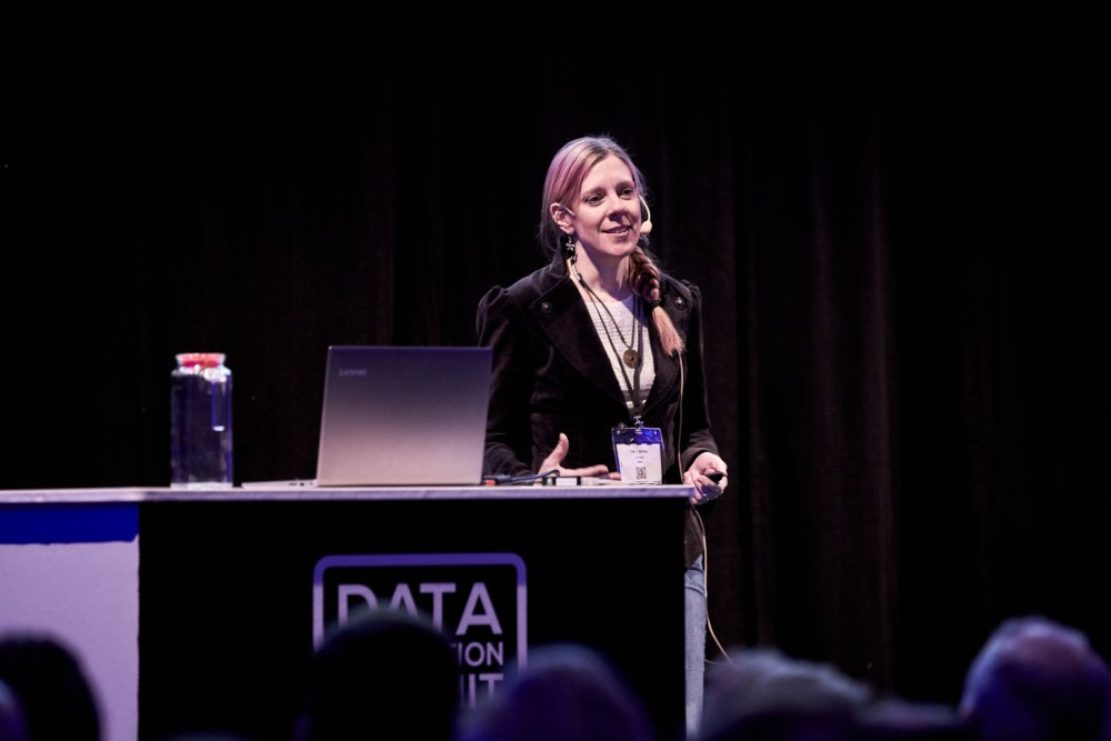 Clair Sullivan, Machine Learning Engineer at GitHub, presenting at the Data Innovation Summit 2019