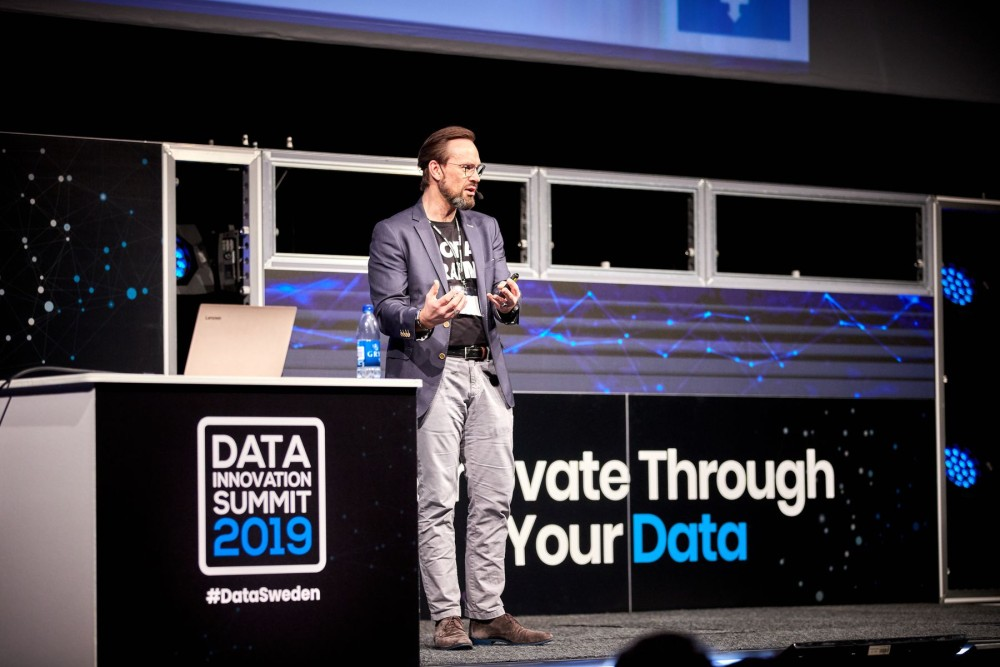 Christian Rasmussen, Senior Manager at Grundfos, presenting at the Data Innovation Summit 2019.