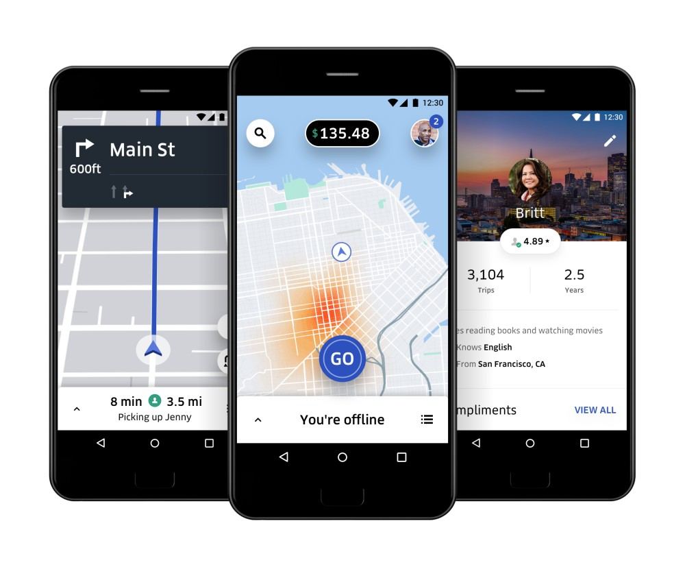 in-app visual of the Uber app