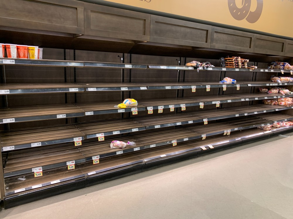 empty shelves in the supermarket
