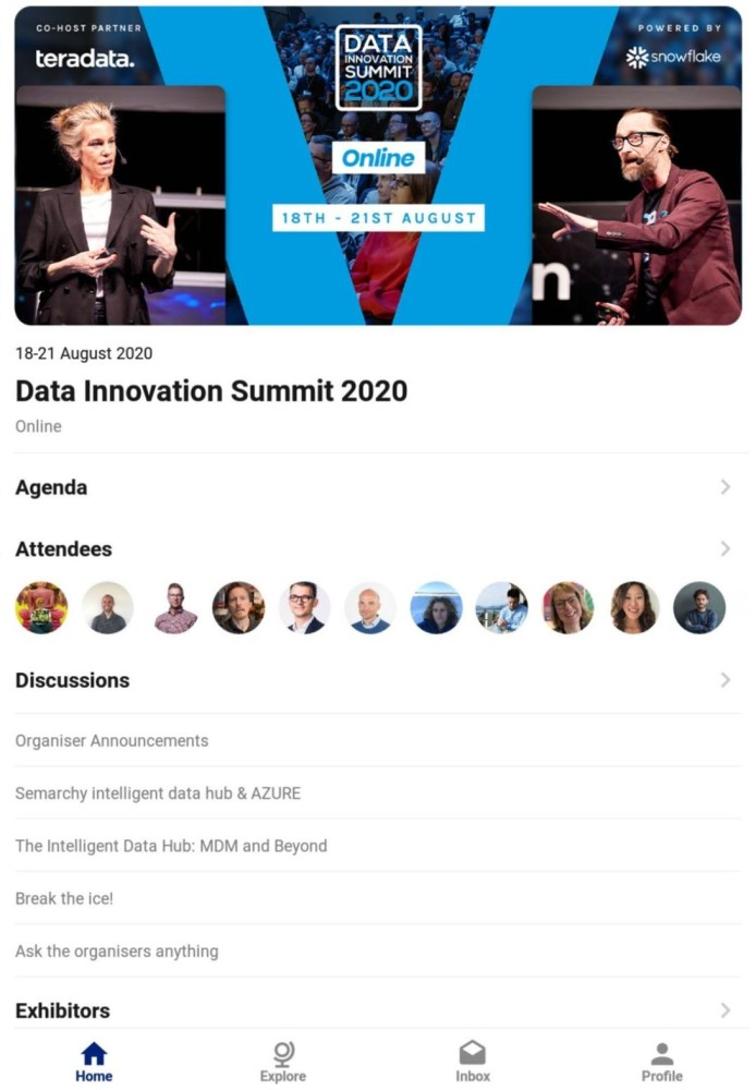 Online Data Innovation Summit 2020 in the Agorify event app