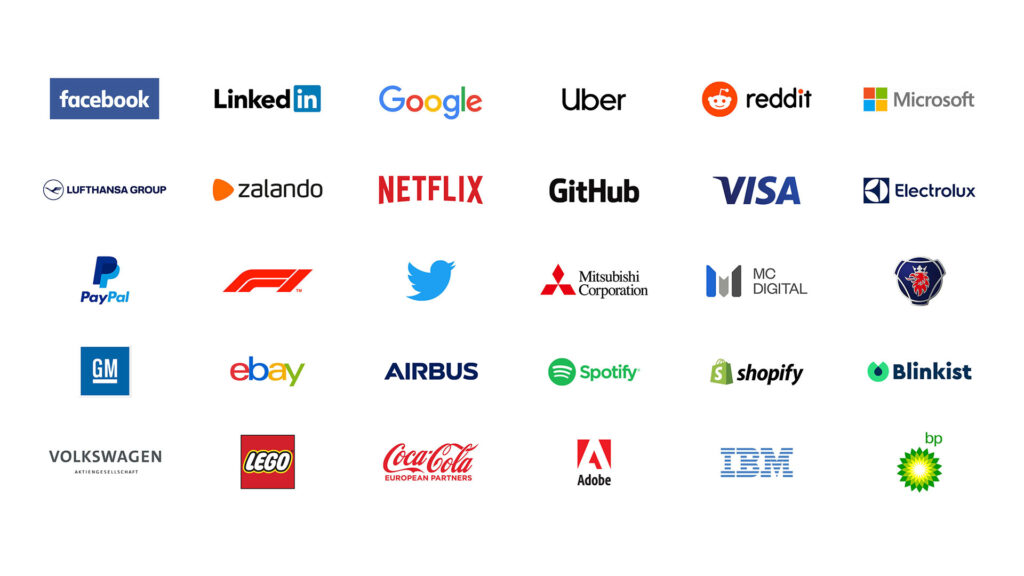 Speaker companies at the Data Innovation Summit 2020: Google, Twitter, Facebook, Coca Cola, Netflix, Uber, GitHub, LEGO, Visa, Mitsubishi Corporation, Shopify, Formula 1, General Motors, Airbus, Rockstar Games, Zynga etc.