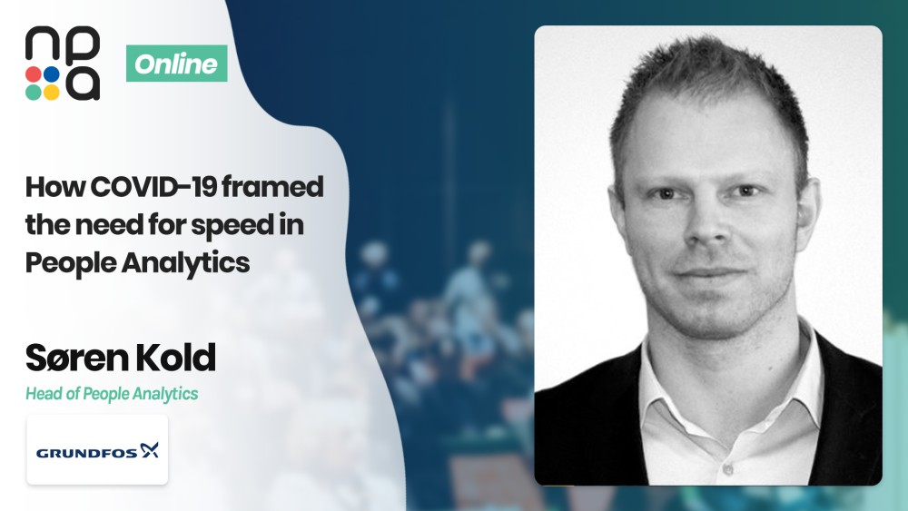 Søren Kold, Head of People Analytics at GRUNDFOS speaking at the Nordic People Analytics Summit 2020