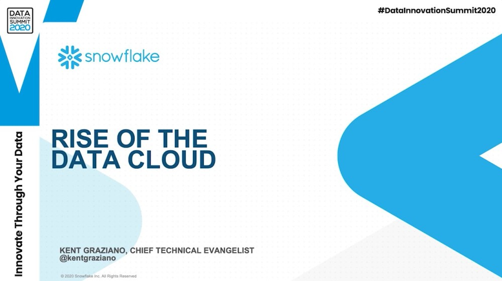 PDF presentation of Kent Graziano, Chief Technical Evangelist at Snowflake at the Data Innovation Summit 2020