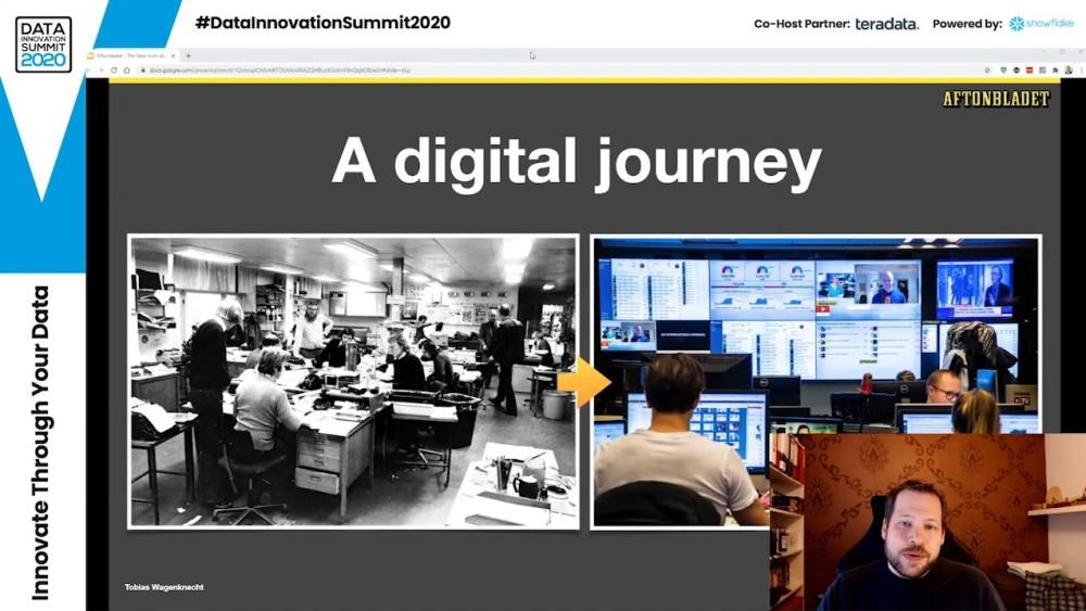 Tobias Wagenknecht, Head of Data & Analytics at Aftonbladet presenting at the Data Innovation Summit 2020