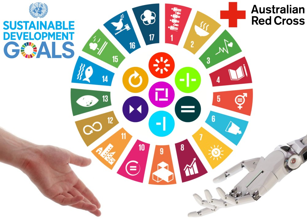 United Nations' Sustainable Development Goals (SDGs) and the 7 fundamental principles of Red Cross.